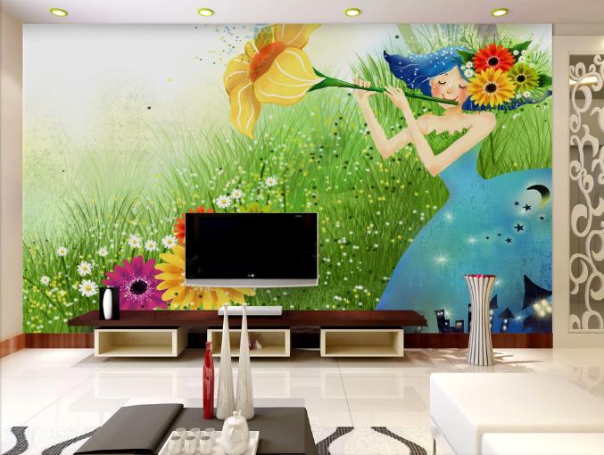 3D Fee Blaumenmädchen 74 Tapete Wandgemälde Tapeten Bild Familie DE