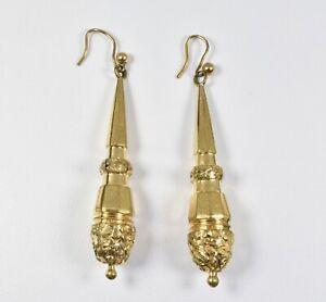 Antique-Victorian-Pinchbeck-Aesthetic-Torpedo-Earrings-C1880