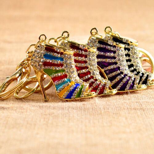 Crystal Shoe High Heel Keyring Rhinestone Purse Charm Pendant Bag Key Chain qk