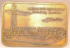 Details about HEAVY BRASS BELT BUCKLE WATERBURY REPUBLICAN AMERICAN CLOCK  TOWER HEADQUARTERS