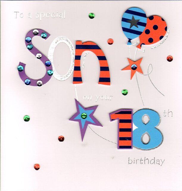 Large Stunning Handmade Special Son 18th Birthday Greeting Card Ebay