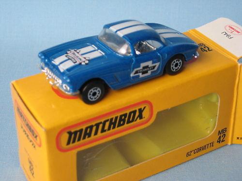 Matchbox Chevy 1962 Corvette bluee Body Japanese Issue Rare Toy Model Car