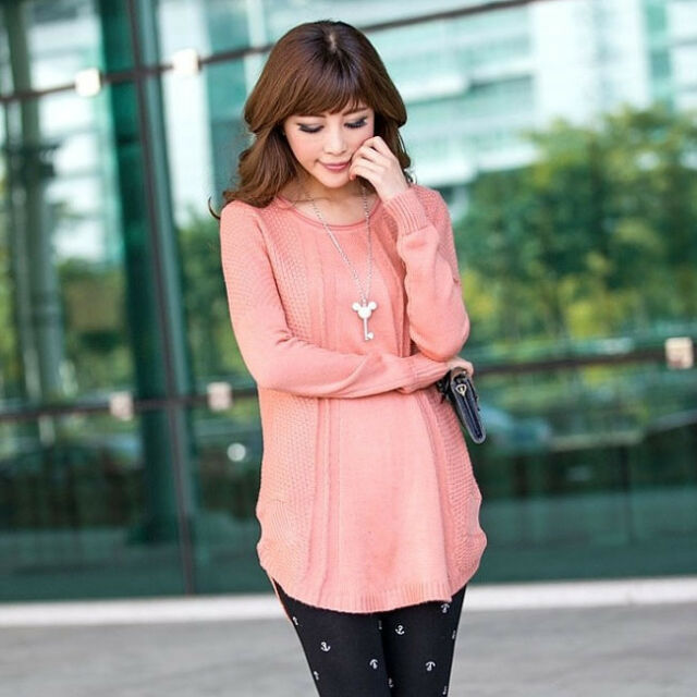 Fashion Long Sleeve Knitted Womens Pullover Mini Dress Loose Sweater Knitwear E