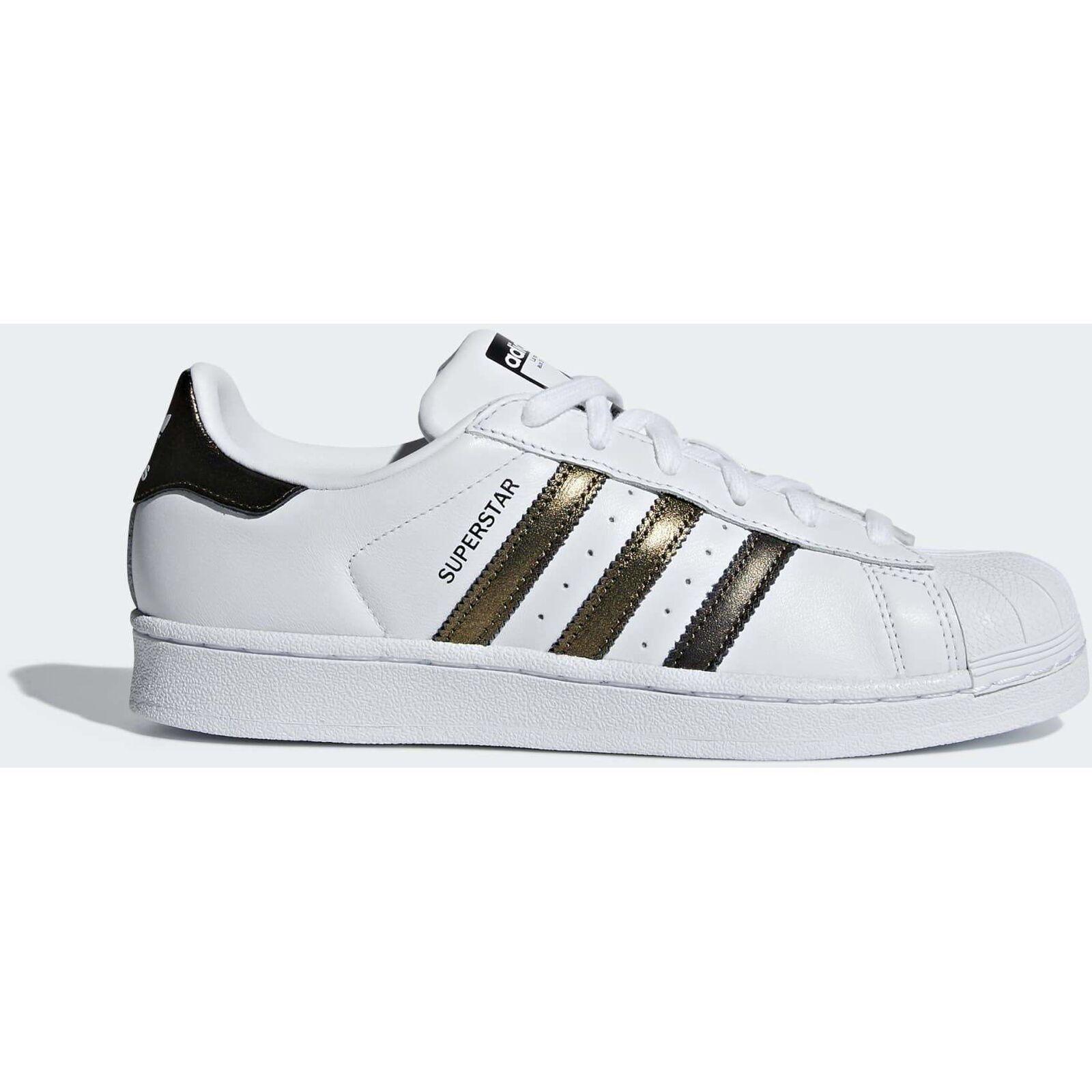 Adidas Originales women whiteas gold shoes SUPERESTRELLA Piel Con cordones