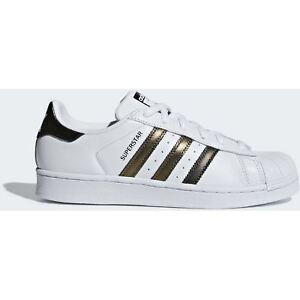Adidas-Originals-Donna-Bianche-Oro-SCARPE-SUPERSTAR-Pelle-Stringata-Scarpa-Bassa