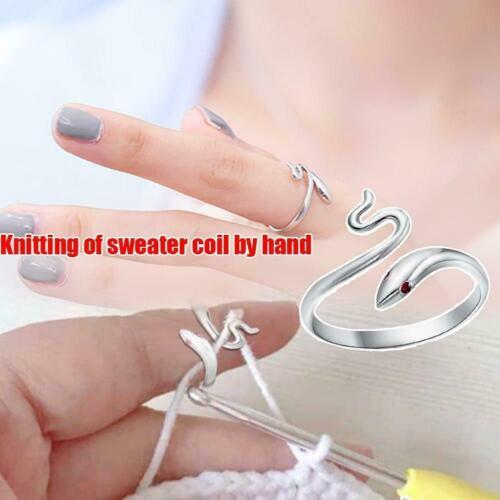 Ring Knitting Loop Crochet Tool Finger Wear Thimble Yarn Adjustable New.