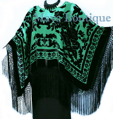 Poncho Shawl top With Fringe Silver Gray Black Burnout Velvet Maya Matazaro