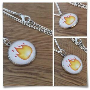 Emoji fire Flames Charm pendant necklace txt geek