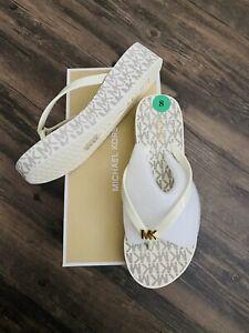 Michael-Kors-Bedford-Flip-Flops-MK-Logo-Platform-Sandals-White-Grey-Size-8-NWT