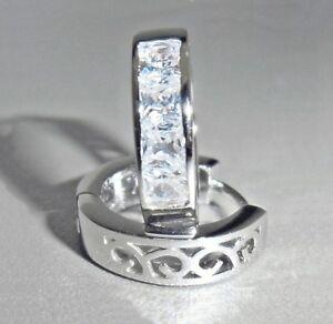 Klapp-Creolen-Damen-Ohrringe-925-Sterling-Silber-Zirkonia-klar-16-x-4-mm-Etui