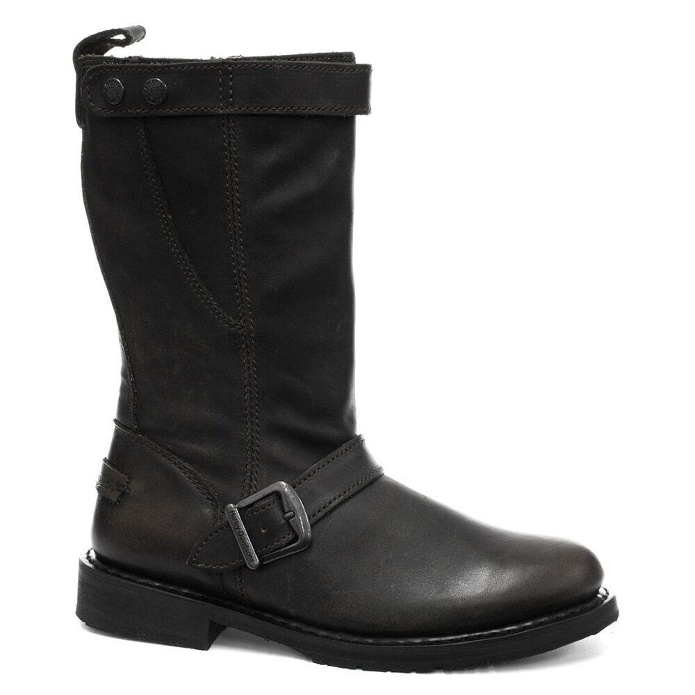 Señoras Harley Davidson Dulcie Cuero Negro Vaquero botas De Vaquero Negro Biker botas Cremallera dulice a5626b