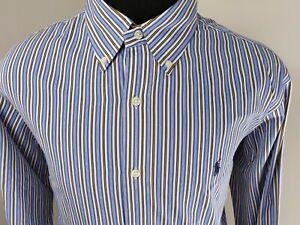 Ralph-Lauren-Mens-Custom-Fit-Long-Sleeve-Button-Down-Shirt-Size-XL-Blue-Stripe
