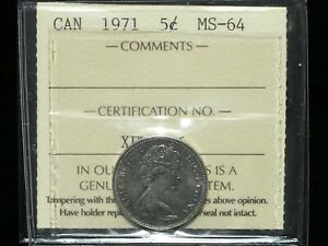 1971-Canadian-Five-Cent-ICCS-Graded-MS-64