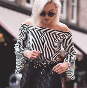 Karen Millen Stripe Bardot Shoulder Flare Sl Blouse Shirt Party Top TA207 6 34