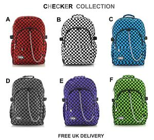CHECKER-Backpack-Rucksack-School-Check-Goth-Emo-Skate-Travel-Gym-Music-CHOK-Bag