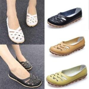 Women-039-s-Leather-Comfort-Casual-Slip-on-Hollow-Lazy-Flat-Shoes-Loafers-Moccasin
