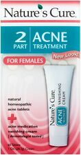 Nature's Cure 2 Part Acne Treatment for Females 60 tablets 1 oz Cream (3 pack)