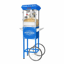Popcorn Machine With Cart Popper Makes 3 Gallons 8 Ounce Kettle Blue
