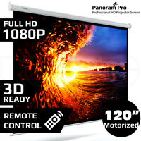 "120"" Inch Electric Motorised Projector Screen Home Theatre HD TV Projection 3D"