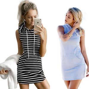 4e8c326d5b4 Image is loading Women-Sleeveless-Hoodie-Sweatshirt-Hooded-Shirt-Jumper-Top-