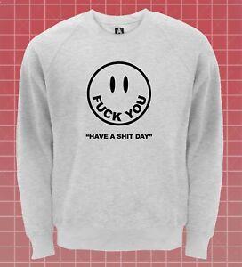Laecheln-F-CK-YOU-Face-Sweatshirt-Lustige-Danke-keine-Pullover-Tumblr-Grunge-Niedlich-Top