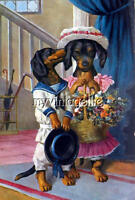 Courting His Girl Dachshund Quilting Fabric Block 5x7
