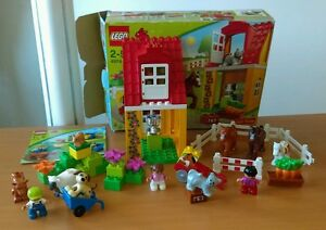 Lego-duplo-4974-4972-100-complet-HORSE-STABLES-ANIMALS