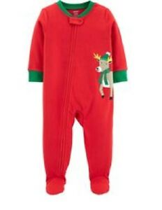 Frugal Nwt Carter's 2t 3t Or 4t 1 Piece Red Reindeer Christmas Fleece Pjs Pajamas Baby & Toddler Clothing