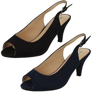 DONNE Anne Michelle f10593 punta aperta con cinturino navy scarpe dcollet nero