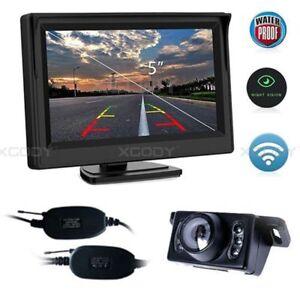 Wireless-Reverse-Camera-5-034-LCD-Monitor-Screen-Car-Rear-View-Backup-Waterproof