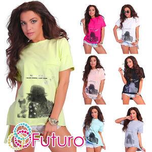 mujer-moderno-Asimetrico-Top-100-algodon-camiseta-ocasional-Talla-2-4-3-7m1756