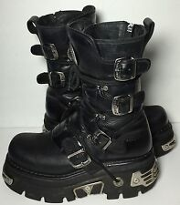 NEW ROCK Platform Black Leather Motorcycle Boots Men's Size 40 Size 7.5