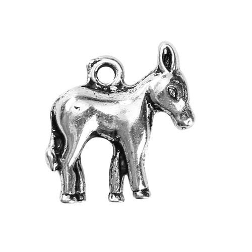 5 Donkey Mule Animal Antique Silver Charms Pendants 15mm x 17mm 006