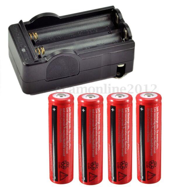 4X 18650 3000mAh 3.7V Li-ion Batería Recargable y Cargador Doble Para Linterna