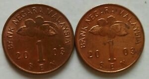 second Series 1 sen coin 2003 2 pcs