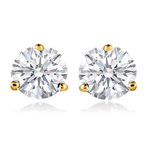 14k-Gold-plated-simulated-Diamond-cut-crystals-stud-men-women-solitaire-earrings