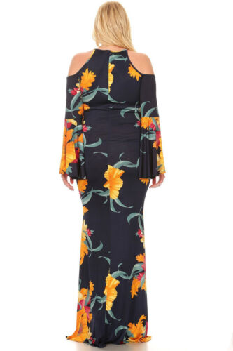Plus Navy Blue Floral Bell Sleeves Cut Out Cold Shoulder Maxi Dress XL 1X 2X 3X