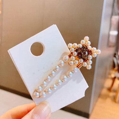 Women Crystal Star Beaded Hair Clip Snap Slide Grips Barrette Pins Hair Access