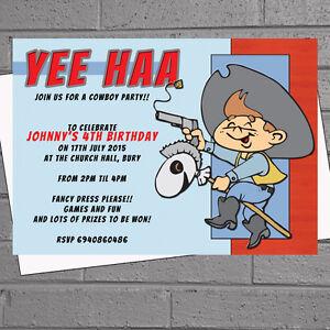 Boys Cowboy Birthday Party Invitations
