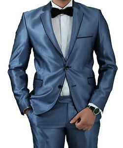 13132276b2ae Details zu Slim Fit Herrenanzug in Blau Glanz  -Smoking-Anzug-Hochzeit-Bühne-Sakko