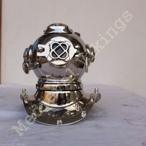 Chrome Brass Metal Diving Helmet Diver Navy Full Brass Mini Vintage Decor Helmet