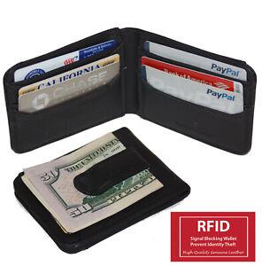 RFID Blocking Black Money Clip Bifold Wallet Front Pocket Credit Card Holder