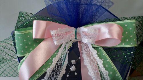 Schleife für Schultüte Zuckertüte auch mit Name passend zu Bibi grün weiß rosa
