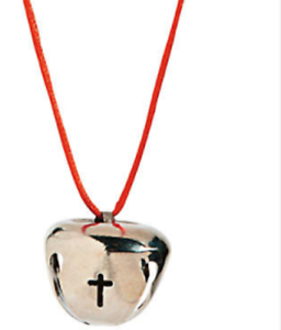 CROSS-BELL-NECKLACE-CHRISTIAN-RELIGIOUS-BELL-SILVERTONE-NECKLACE-RED-CORD
