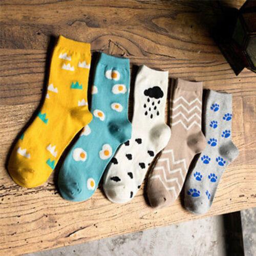 HK Women Girls Cartoon Egg Cloud Dog Paw Print Autumn Winter Soft Socks Novelty