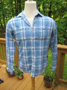 LL-BEAN-Mens-Linen-Blend-Size-MED-Slightly-Fitted-Long-Sleeve-Blue-Plaid-Shirt
