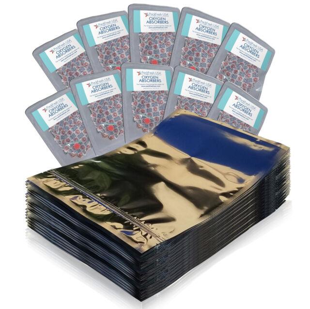 (100)1 Gallon Seal Top Mylar Foil Bags + (100) 500cc Oxygen Absorbers