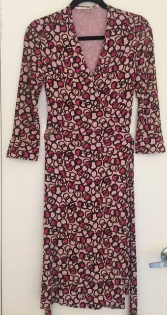 Diane von Furstenberg DVF Julian Silk Wrap Dress US 2 / AU 6-8