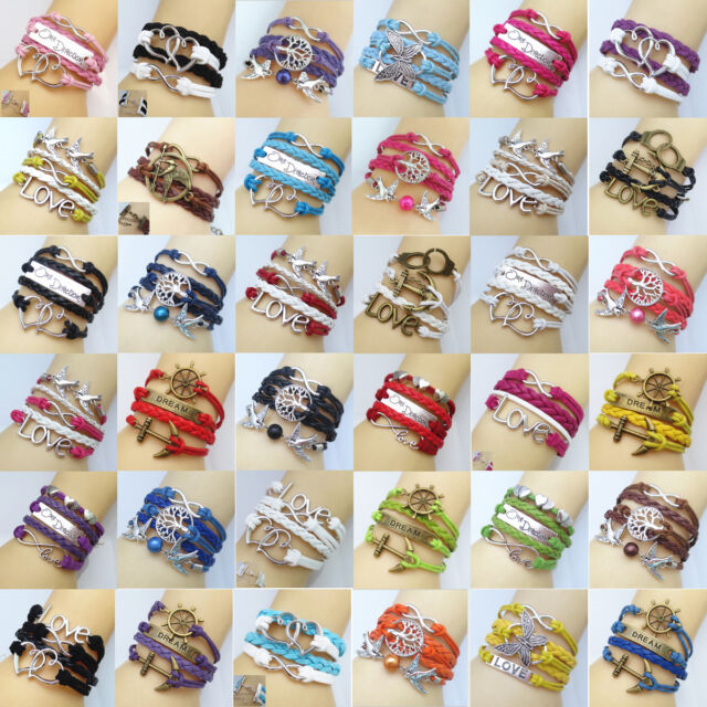 NEW Hot Jewelry fashion lots Style Leather Cute Infinity Charm Bracelet Bangle