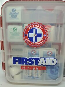 Partial First Aid Kit Hard Red Case Hangs Exceeds OSHA and ANSI Guidelines #3